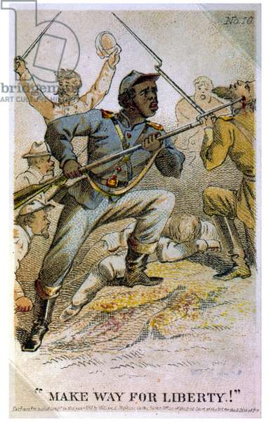 African American Union soldier, bayoneting Confederate soldier during a battle in the American civil war.
