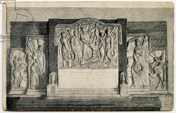 Soviet Postcard depicting Memorial Panel to the Fallen in the October Revolution, to be erected on Red Square in Moscow