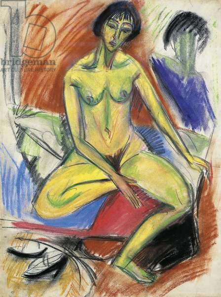 Seated female nude, 1912, by Ernst Ludwig Kirchner (1880-1938)