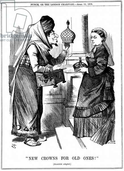 Benjamin Disraeli offering the crown of India to Queen Victoria. She was proclaimed Empress of India on l May 1876. John Tenniel cartoon from Punch London 15 April 1876