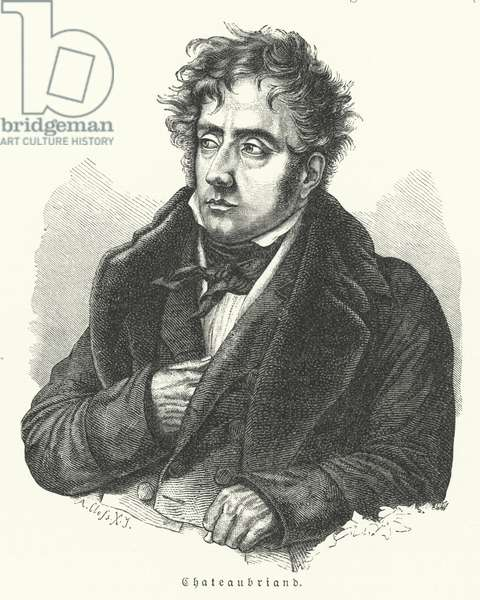 Francois-Rene de Chateaubriand, French novelist, politician, diplomat and historian (litho)