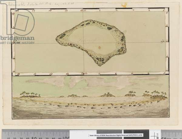 Page 25b/a Map and profile of Palmerston Island, 1768-75 (pen & ink and w/c)