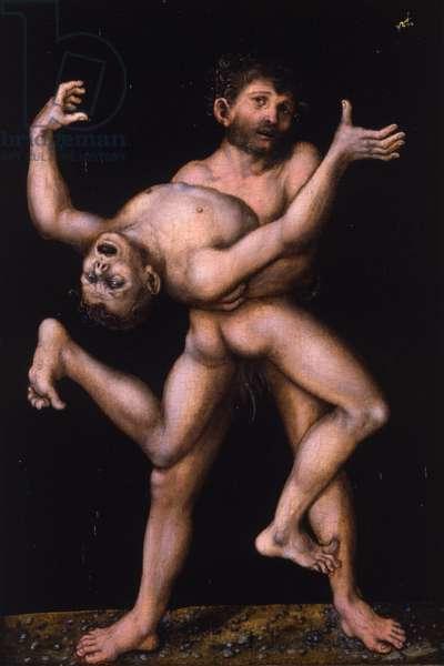 Hercules and Antaeus, c.1530 (oil on panel)