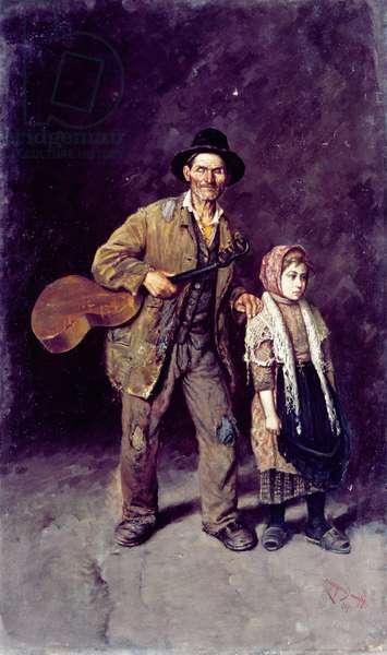 Lost in dark, 1905, by Alfredo Campajola (1873-1940), oil on canvas, 105x68 cm