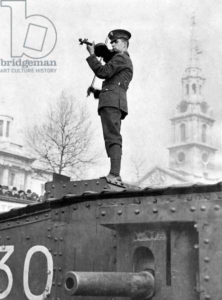 Albert Sammons on tank in Trafalgar Square, c