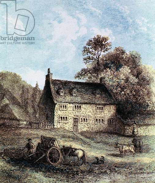 Isaac Newton (1642-1727) English scientist and mathematician. Woolsthorpe Manor near Grantham, Lincolnshire, Newton's birthplace. Colour-printed engraving 1859.