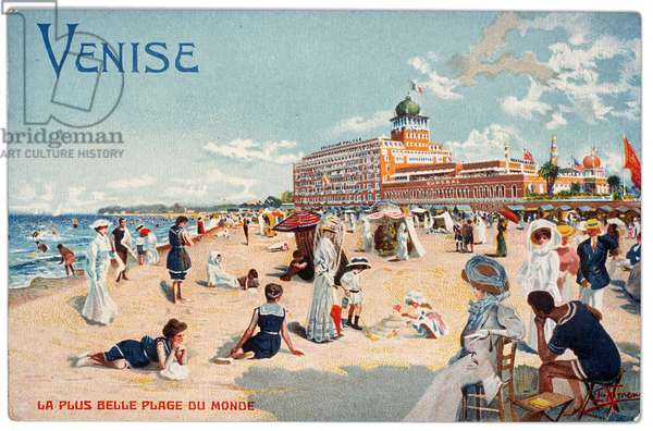 Postcard of the Lido of Venice, c.1905 (colour litho)
