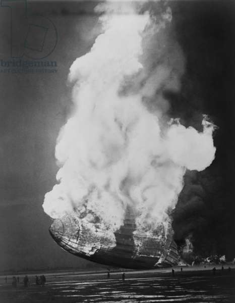 The Hindenburg hits the ground in flames in Lakehurst, N.J. on May 6, 1937