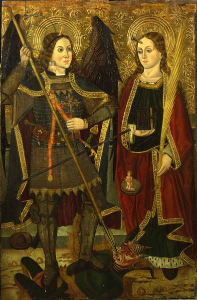 Saints Michael and Engracia (tempera on gold ground panel)