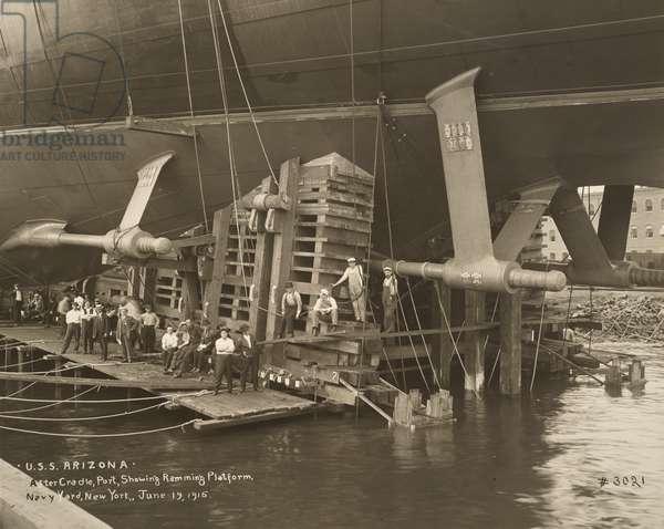 Stern of the USS Arizona (Battleship: BB-39), 1915 (b/w photo)