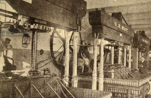 Print showing the interior of a wine factory in Champagne