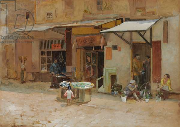 Chinatown, San Francisco, 1908 (watercolour and pencil on paperboard)