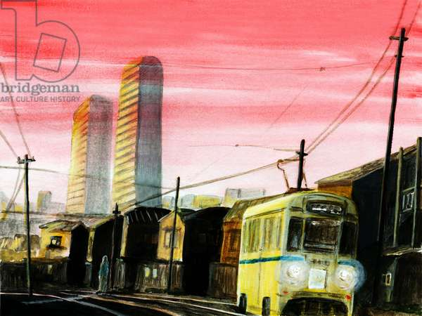 Tram in sunset, 2015, (Acrylic paint on paper)