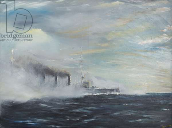 SMS Emden 'The Swan of the East' 1914, 2011 (oil on canvas)