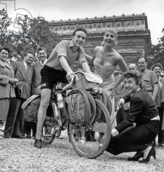 Departure of Guy Chassagnard For Usa in Presence of Mick Micheyl and Daniele Lamar July 1St, 1954 (b/w photo)