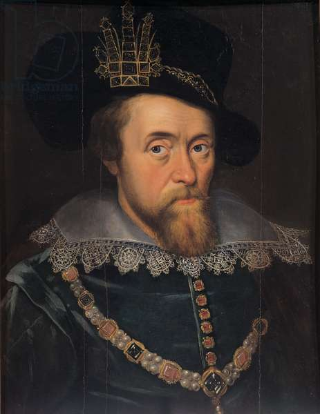Portrait of King James VI of Scotland and 1 of England (1566 - 1625), 1603 (oil on panel)