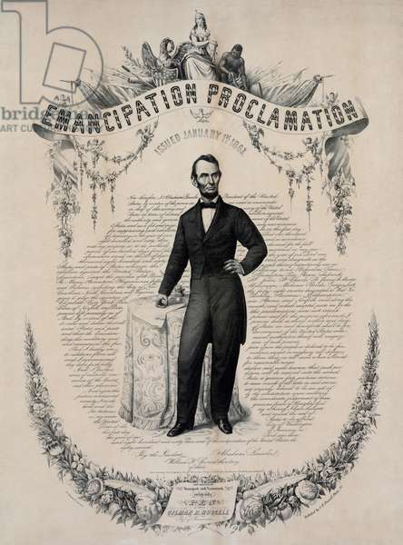 Commemorative print of Abraham Lincoln with the text of the Emancipation Proclamation of January 1, 1863. Print published in 1865