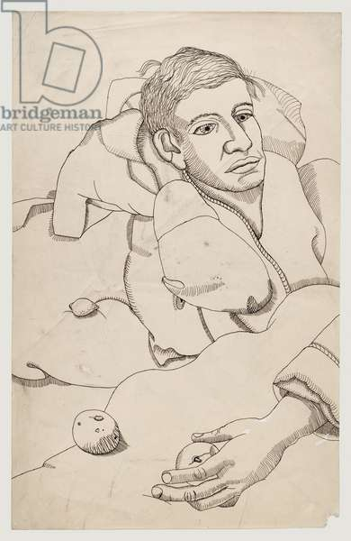 Boy in Bed with Fruit, 1943 (pen & ink on paper)