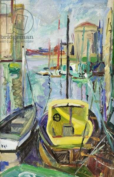 Le Vieux Port, La Rochelle, c.1930 (oil on paper laid on canvas)
