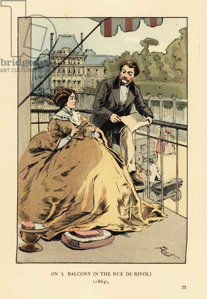 On a balcony in the rue de Rivoli, Paris, 1864. Woman with mustard crinoline dress with pelerine. The Louvre and Jardin des Tuileries across the street. Handcoloured lithograph by R.V. after an illustration by Francois Courboin from Octave Uzanne's Fashion in Paris, William Heinemann, London, 1898.