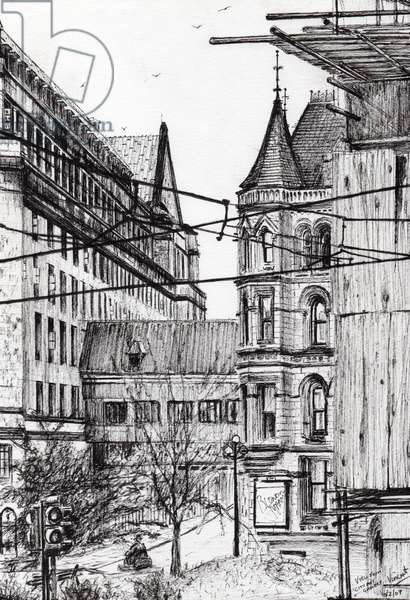 Manchester town hall from City Art Gallery, 2007, (ink on paper)