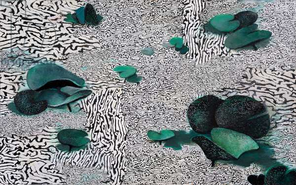 Rippled Pond With Lilies, 2005-11 (acrylic collage on board)