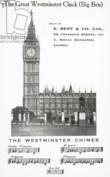 The Great Westminster Clock, Big Ben (b/w photo)