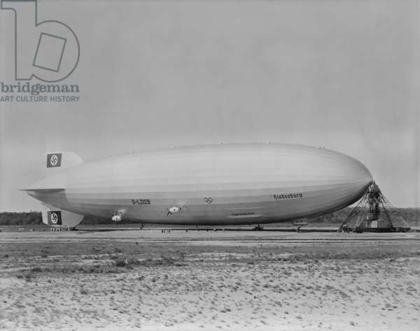 German airship HINDENBURG moored at Lakehurst New Jersey. c. 1933-1937