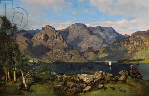 Derwentwater looking towards Borrowdale, 1855 (oil on canvas)