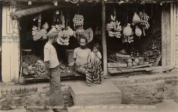 Native Boutique showing a Great Variety of Ceylon Fruits, Ceylon (b/w photo)