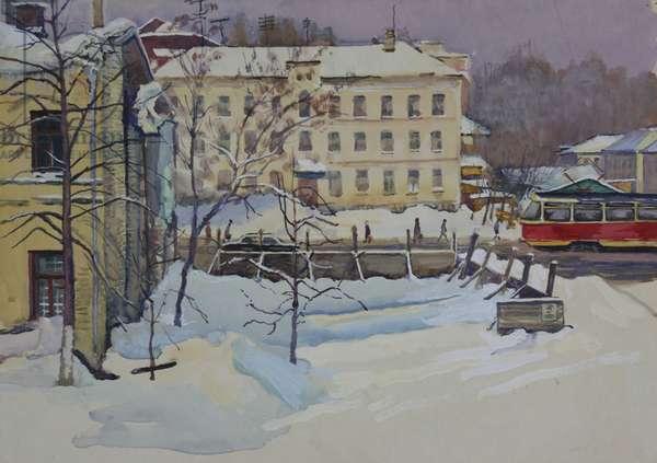 Moscow Street with Tram, Perunovski Pereulok, 1968 (gouache on paper)