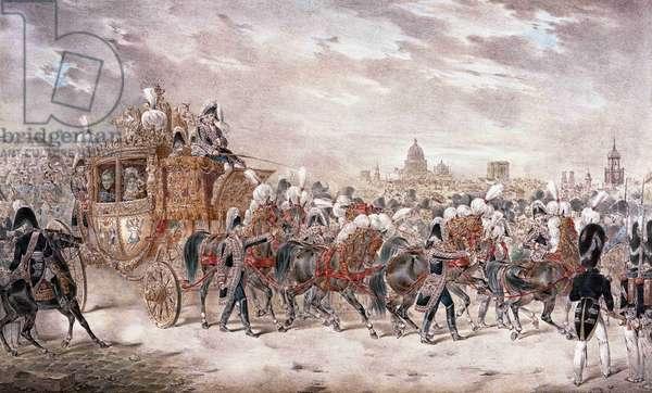 Andre Entree Solemnelle de S.M. Charles le Roi de France et de Navarre, 19th century (coloured litho)