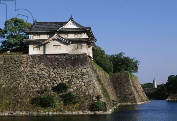 Fortifications along Osaka castle walls, Kansai, Japan, 16th-20th century