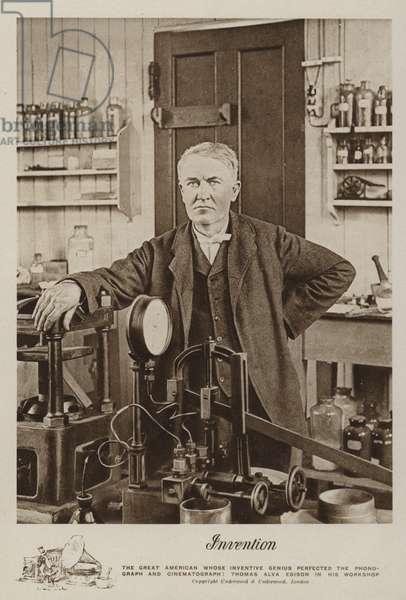 Invention, Thomas Alva Edison in his workshop (b/w photo)