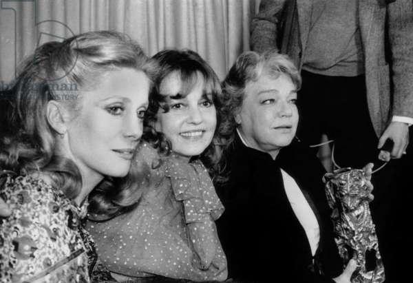 Catherine Deneuve, Jeanne Moreau (President of Jury) and Simone Signoret With French Movie Prize, February 6, 1978 (b/w photo)