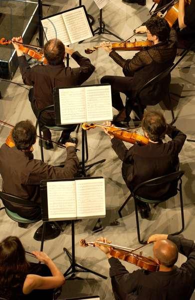 String section of the Orchestre des Champs-Elysées