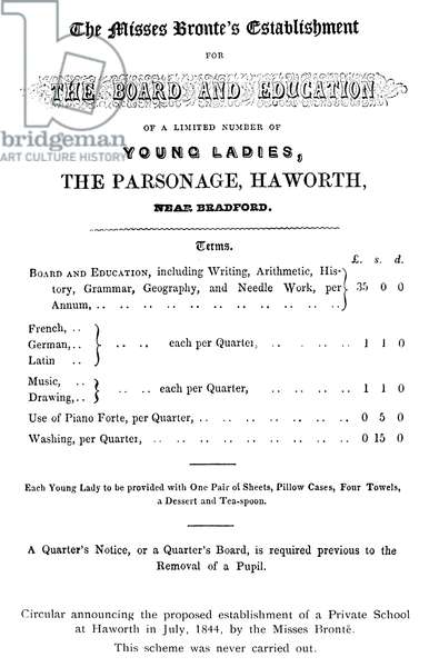BRONTË SCHOOL, 1844 Circular of July 1844 announcing the proposed establishment of a private school at Haworth, England, by the Brontë sisters.