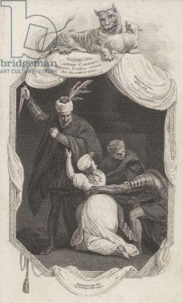 Scene from Tamerlane by Nicholas Rowe (engraving)