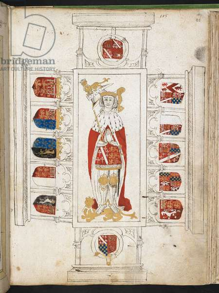 Add MS 45131, f.85r Illustration of the tomb of Thomas Howard, 2nd Duke of Norfolk, d.1524 (vellum)