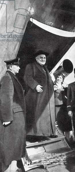 Cardinal Roncalli (later Pope John XXIII) arriving in France on 23 March, 1958 to consecrate the new basilica of Saint Pius X at Lourdes, from 'Paris-Match', 8 November, 1958 (litho)