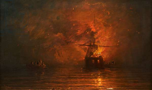 Ship on Fire, 1873 (oil on canvas)