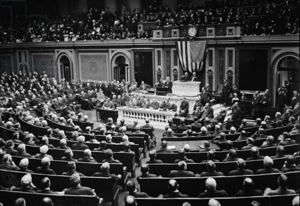 Woodrow Wilson (1856-1924) addressing Congress in 1916