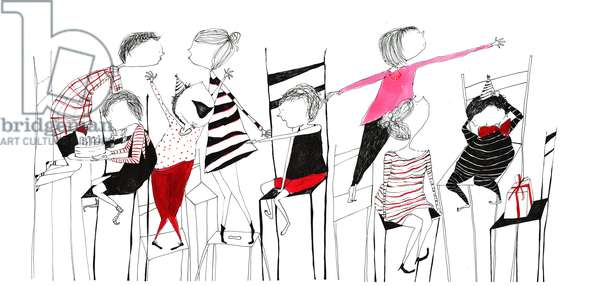 chairs, 2013, (acrylics and pen)