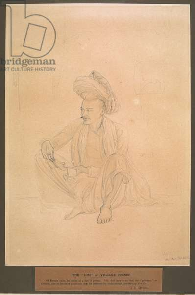 The Joshi, or village astrologer, squatting on the ground with a horoscope in his hand. March 1872