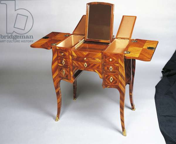 Louis XV style dressing table, internal compartments open, France, 18th century