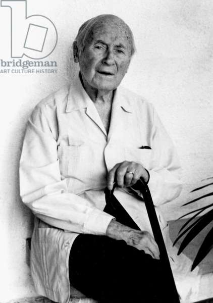 Spanish painter, sculptor Joan Miro (1893 - 1983) at home in Cala Mayor, near Palma, Majorca, September 11, 1978 (b/w photo)