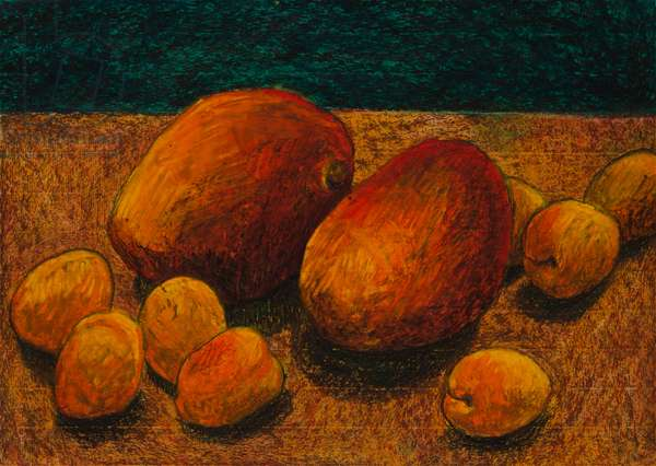 Two Mangoes, 2006 (oil pastel on paper)