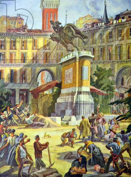 Spanish civil war: Demolition of the Statue of Philip III
