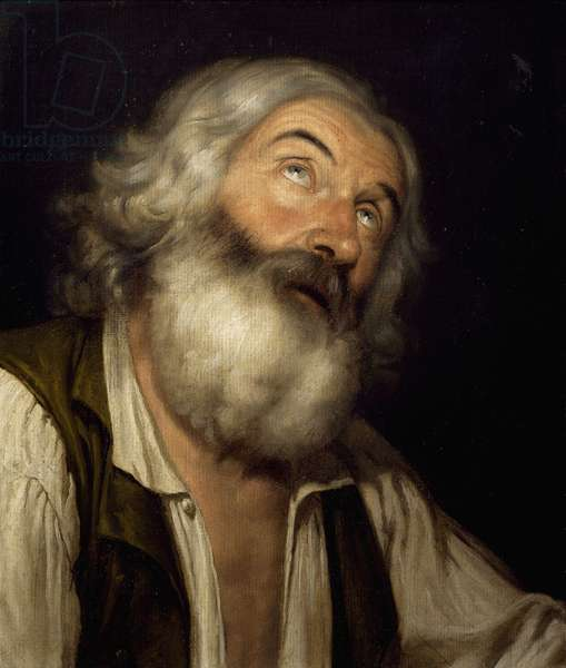 Head of an old man, by Angelo Maria Ceroni, 19th century