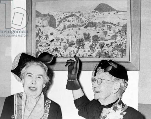 Grandma Moses, United States, 1953 (b/w photo)